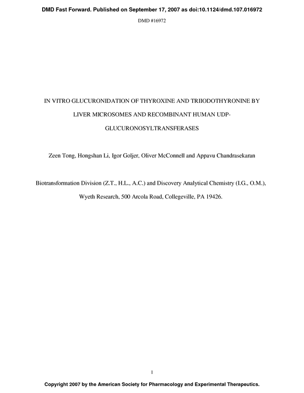 In Vitro Glucuronidation Of Thyroxine And Triiodothyronine By